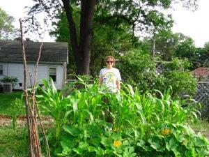 Stefanie in her beautiful garden